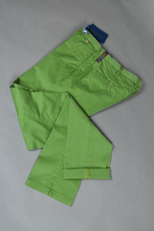 Pantalon chino vert prairie doublure fleurie, style casual et frais. ATPCO