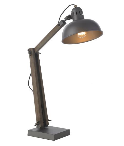 lampe lampe cliché 1 lumière chêne, old wooden grisé et tête métal gris, solea, MAISON, Déco, décoration, HABITAT, éclairage, mobilier