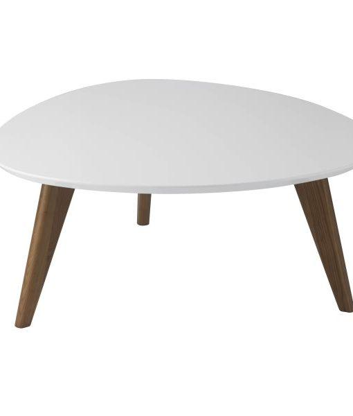 TABLE Table basse en bois, plateau laqué blanc - FOSTINE ...