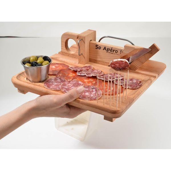 Planche d couper guillotine charcuterie so apero avec plateau bron coucke boutiques - Planche a decouper saucisson ...